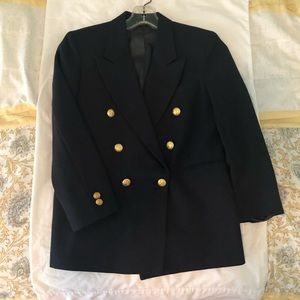 Nordstrom double-breasted fashion blazer navy